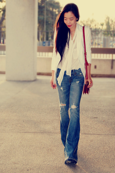 H&M blouse - turquoise blue Work Custom Jeans jeans - white Express blazer