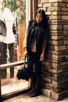 INC vest - asos sweater - a&f leggings - Frye boots - H&M bag - D&G accessories