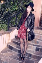 Forever21 dress - leather River Island jacket - CCSky bag - Jessica Simpson heel