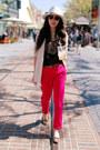 Beige-h-m-blazer-leopard-print-bandolino-flats-hot-pink-zara-pants-leopard