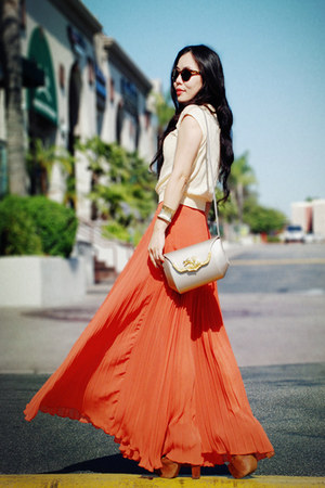 vintage bag - Zara sunglasses - vintage top - carrot orange pleated maxi asos sk