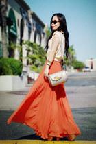 vintage bag - Zara sunglasses - vintage top - carrot orange pleated maxi asos sk
