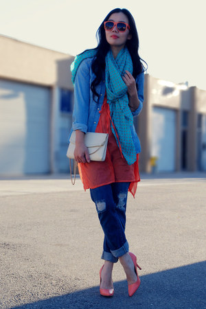 navy Levis jeans - blue Zara shirt - turquoise blue Zara scarf - neutral thrifte