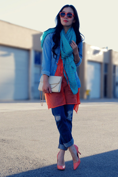 navy Levis jeans - blue Zara shirt - turquoise blue Zara scarf - neutral thrifte