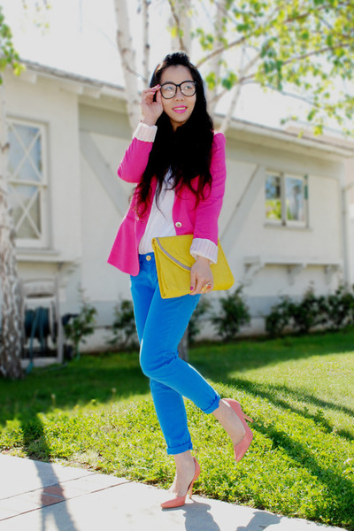 blue skinny Zara jeans - hot pink Zara blazer - yellow asos bag - salmon H&M hee