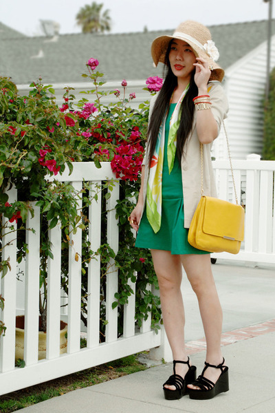 forest green Zara dress - Forever21 hat - beige H&amp;M blazer - yellow Zara bag