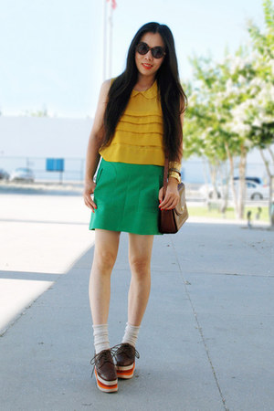 mustard Forever21 top - tawny Bally bag - asos sunglasses