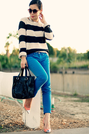 DIY heels - blue Zara jeans - H&M sweater - carlos falchi bag