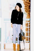 asos sweater - Zara pants - asos bag - Juice Couture boots - Target hat - YSL ri