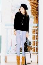 asos sweater - Zara pants - asos bag - Juice Couture boots - Target hat - YSL ri