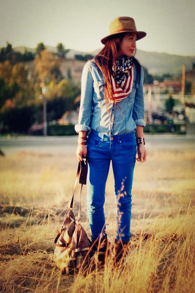 asos scarf - sky blue Zara jeans - vintage hat - blue Zara shirt - botkier bag