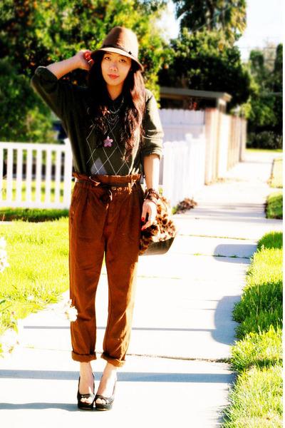 Zara pants - sweater - Dolce Vita shoes - Nine West hat