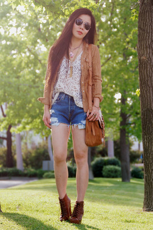 eggshell lace H&M top - tawny Jeffrey Campbell boots - bronze H&M shirt