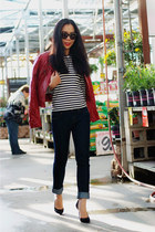 Bebe jacket - dl1961 jeans - Comme des Garcon Play top - Gucci pumps