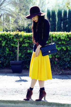 vintage boots - vintage blouse - yellow thrifted skirt