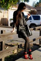 leather Zara dress - leather River Island jacket - carlos falchi bag
