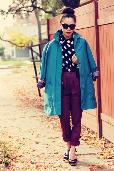vintage coat - Gap sunglasses - Miu Miu pumps - Shoxie pants