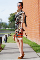 tawny American Rag dress - dark khaki H&M jacket - vintage scarf - vintage bag -