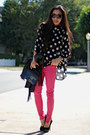 Zara-jeans-clutch-alexander-wang-bag-polka-dot-minkpink-blouse