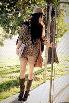 Frye boots - H&M hat - asos bag - Zara shorts - leopard print thrifted blouse -