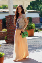 Zara t-shirt - pleated maxi thrifted vintage dress - Mulberry bag