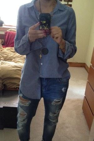sky blue denim shirt H&M shirt - sky blue ripped jeans Forever 21 jeans