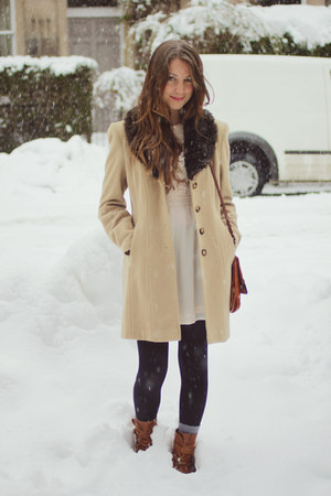camel vintage coat - brown vintage boots - ivory H&M dress