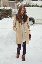 camel vintage coat - brown vintage boots - ivory H&M dress