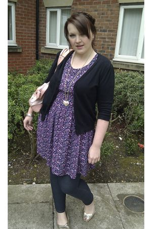 purple asos dress - black Cherokee cardigan - blue Topshop leggings - gold barra