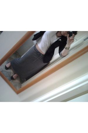 gray vintage skirt - black Primark blazer - white H&M top