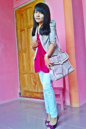 pink shoes - stripes blazer - pink bag - pink top