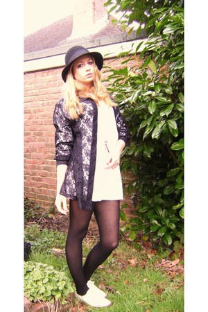 lace thrifted vintage shirt - lace up brogues vintage Topshop shoes - H&M hat