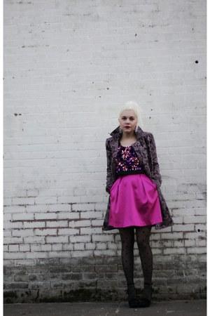 hot pink ERIN Erin Fetherston dress - purple free people coat - black YSL wedges