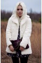 black Target boots - navy Think Closet dress - off white Topshop coat