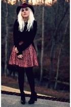 maroon Forever 21 dress - black vintage coat - maroon H&M hat