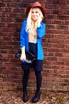 blue Urban Outfitters top - black Jeffrey Campbell boots