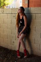 snap back hat - i love bs American Apparel shirt - floral shorts