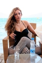 black vintate pin up Zara dress - black checkered Vero Moda pants - white