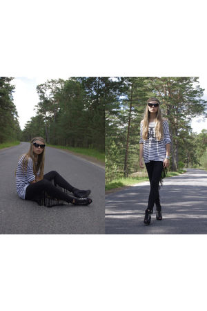 black sister made those leggings - black GINA TRICOT blouse - black DinSko boots