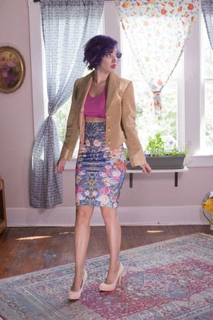 nude vintage leather Ms Pioneer jacket - navy Hannas Attic shirt