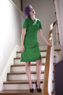 Green-vintage-dress-laiglon-1950s-dress-dress-black-betsey-johnson-pumps-pumps