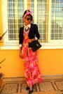 Hot-pink-floral-dress-neutral-shirt-bubble-gum-diy-bow-headband-accessories