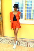 carrot orange blazer - carrot orange lace shorts - light blue sneakers