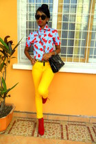 red cherry print shirt - red Go Jane Lita like shoes - yellow Skinny jeans