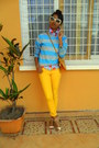 Yellow-skinny-jeans-aquamarine-striped-sweater-red-cherry-print-shirt