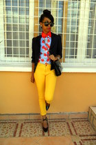 sky blue cherry print shirt - yellow Skinny jeans - Missing Dorothy blazer