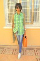 white Converse sneakers - chartreuse Calvin Klein plaid shirt
