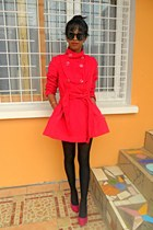 hot pink feutre coat worn as a dress - hot pink Christian Louboutin heels