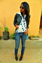 black Bershka leather jacket - blue Pepe Jeans jeans - white polka dots blouse