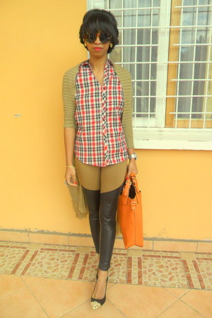 dark khaki sweater - ruby red plaid shirt - carrot orange bag - black Zara heels